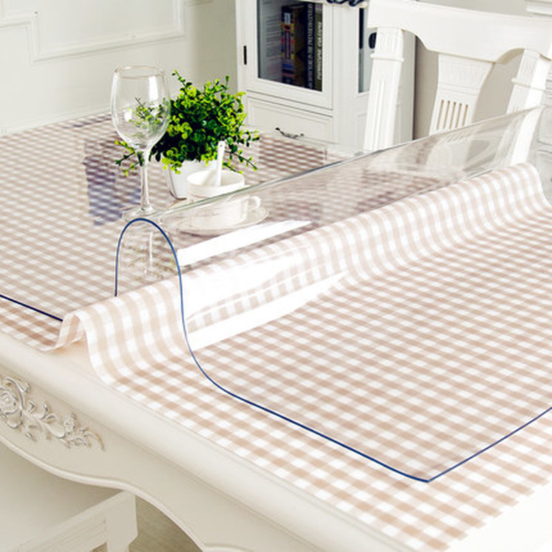 Waterproof PVC Tablecloth Table Cloth Transparent Table Cover Mat Kitchen Pattern Oil Cloth Glass Soft Cloth Tablecloth 1.0m