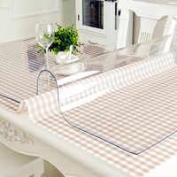 Imperméable à l'eau PVC nappe nappe transparente Table couverture tapis cuisine motif huile tissu verre doux tissu nappe 1.0m