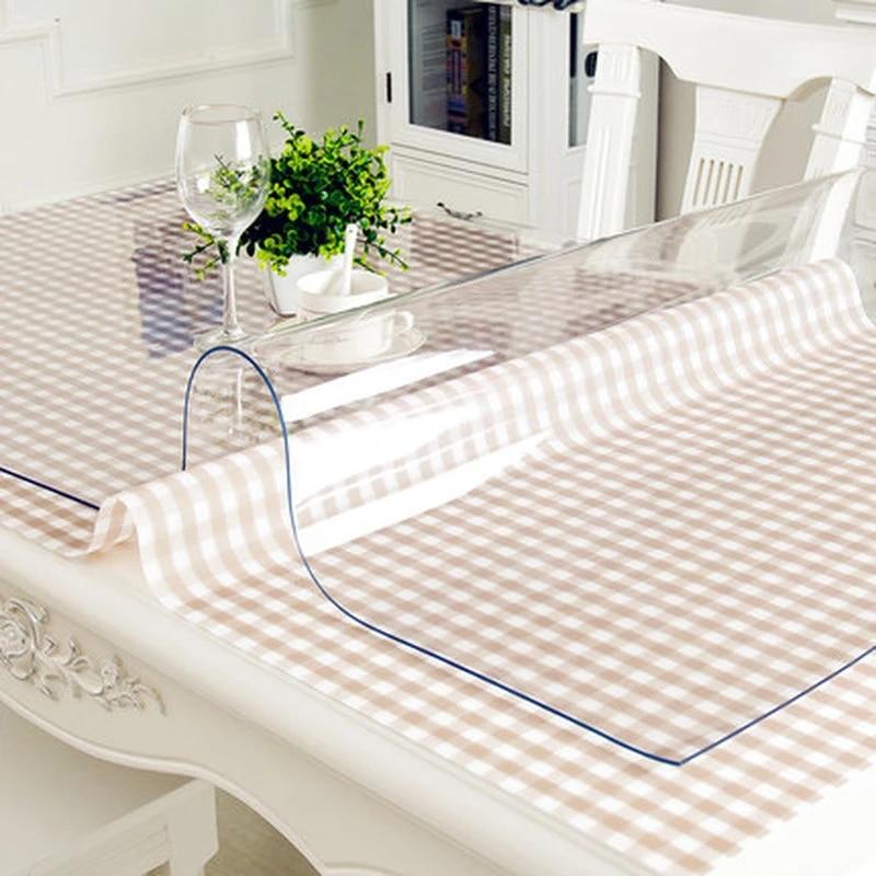 nappe de table impermeable transparente 1 0mm impermeable a l eau pvc nappe nappe transparente table couverture tapis cuisine motif huile tissu verre
