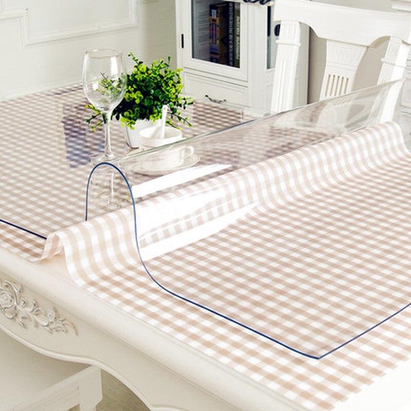 Nappe en PVC imperméable nappe nappe transparente couverture de Table tapis cuisine motif huile tissu verre doux tissu nappe 1.0m
