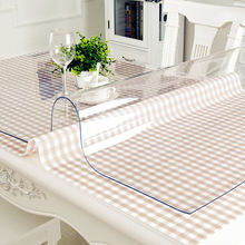 Waterproof PVC Tablecloth Table cloth Transparent Table Cover Mat Kitchen Pattern Oil cloth Glass Soft Cloth Tablecloth 1.0m(China)