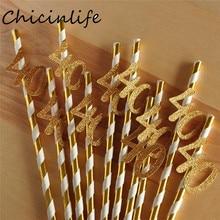 Chicinlife 10pcs נייר קש עם מספר 30 40 50 60 לשתות קש עבור יום הולדת/יום נישואים מסיבת יום הולדת קישוט