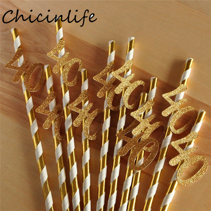 Chicinlife 10pcs Paper Straw With Number 30 40 50 60 Drink Straw For Birthday/Wedding Anniversary Birthday Party Decoration