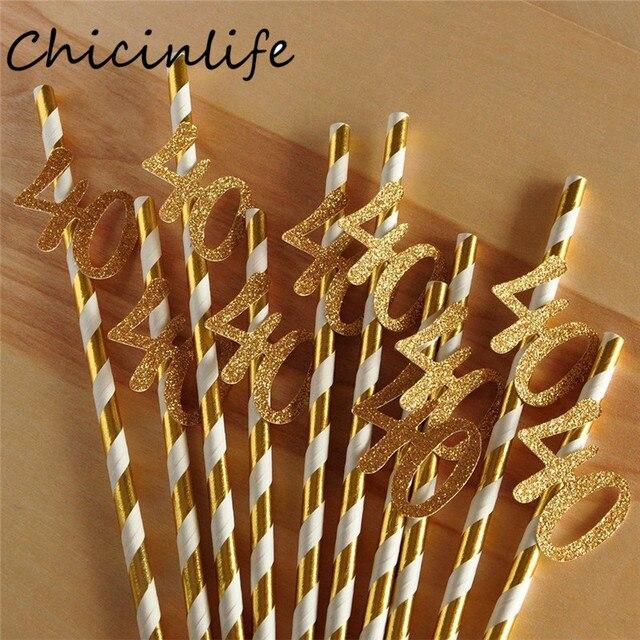 Chicinlife pajita de papel con número 30 40 50 60, Pajita para beber para cumpleaños/aniversario de boda, decoración de fiesta de cumpleaños, 10 Uds.