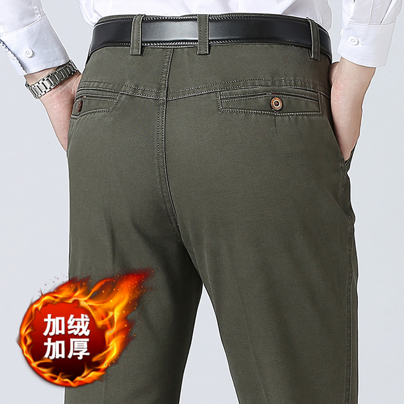 Winter Thick Fleece Cargo Pants Men Joggers Casual Work Pants Mens Business Pants Long Straight Pants For Men Male Trousers ...