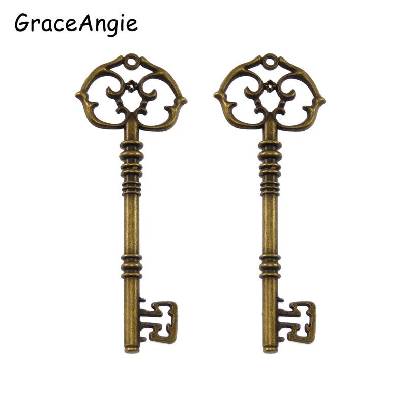 6pcs/lot Vintage Antique Style Bronze Tone Alloy Nice Key Shape Man Lover GiftNecklace Pendant Charms Jewelry  82*30*5mm  32527