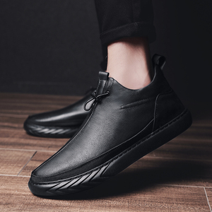 Image 4 - Genuine Leather Shoes Men Brand Footwear Non slip Thick Sole Fashion Mens Casual Plus velvet Sneakers Male High Quality zapatos