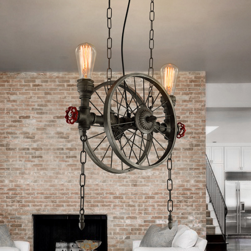 American Country Retro Industrial Black / Iron Wheels Pendant Light Loft Style Wrought Iron Droplight for Restaurant Bar Cafe nordic retro wall lamp bedside light wrought iron lamps shade american country style restaurant bar industrial warehouse