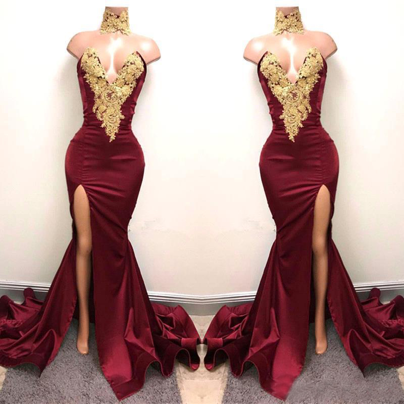 New Design 2K19 Sexy Burgundy   Prom     Dresses   with Gold Lace Appliqued Mermaid Front Split   Dresses   Long Party Evening Wear Gowns