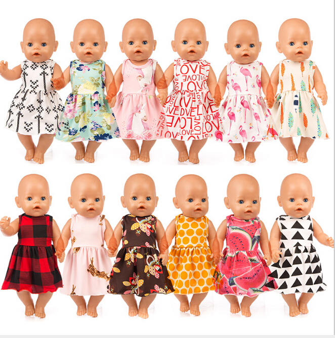 New Dress Doll ClothesFit 17inch 43cm Doll Clothes Born Baby Doll Accessories For Baby Birthday Festival Gift