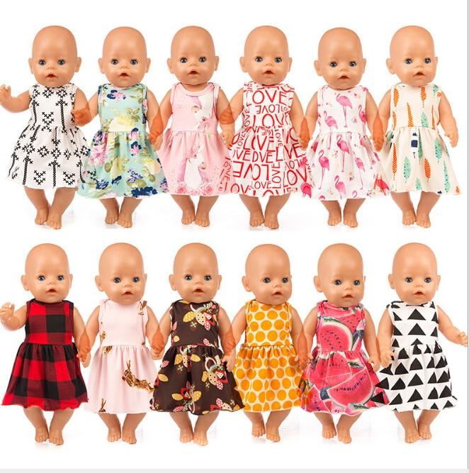 Новое платье, кукольная одежда, 17 дюймов, 43 см, кукольная одежда, аксессуары для новорожденных, подарок на день рождения