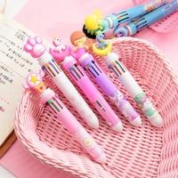 50PCS/SET Japan and South Korea Network Cute Girl Heart Cartoon Multi color Press Ball Pen Student Multi function Color Pen