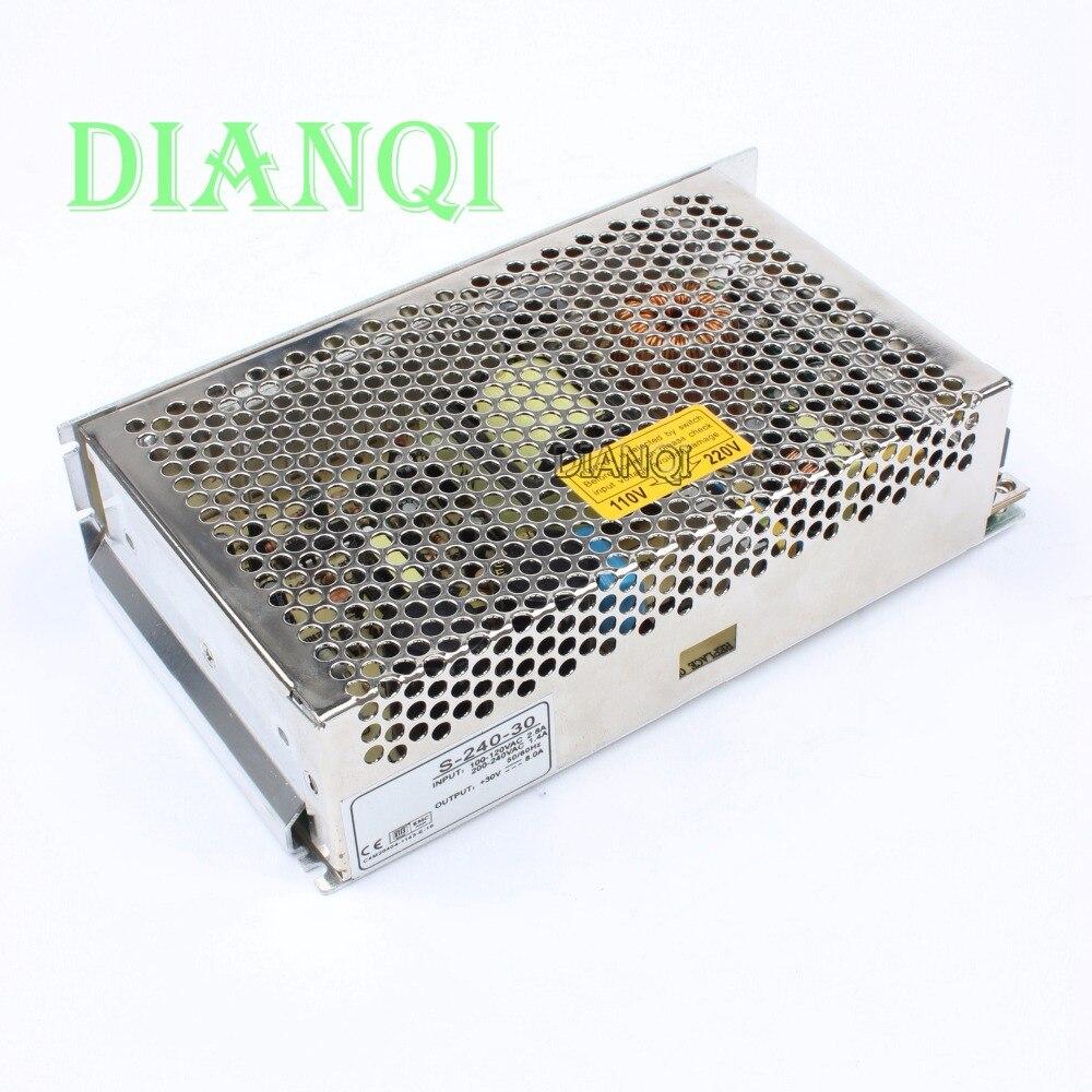S-240-30 LED light strip Switch Power Supply  30v 240w ac to dc power supply ac dc converter  240w 30v adjustable output voltage ac to dc voltage converter module for led strip black