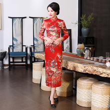 Chinese Traditional Long  Cheongsam Womens Silk Satin Maxi Dress Lady Ball Costume S-6XL