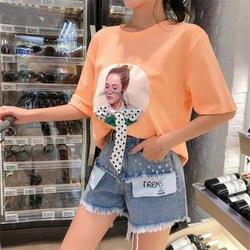 Новые джинсовые шорты с высокой талией в гонконгском стиле на лето 2019