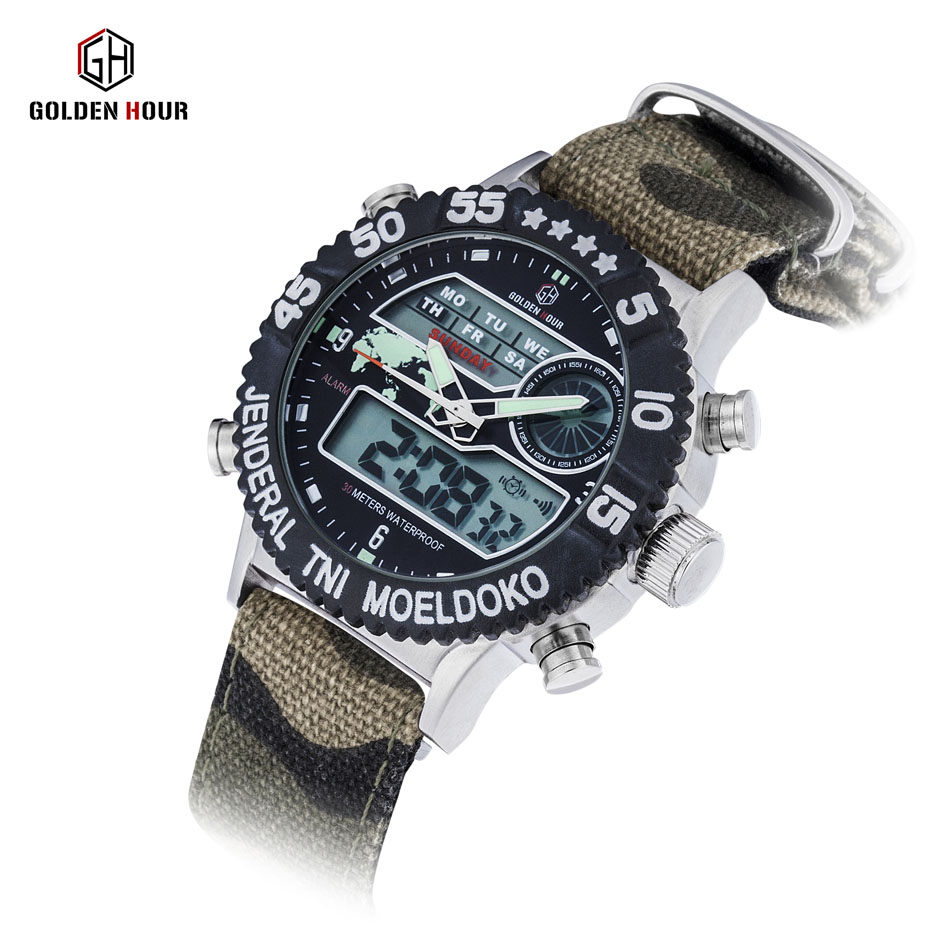GOLDENHOUR Fashion Quartz Digital Sport Men Military Sports Outdoor Watches Nylon Strap Male Clock Style Watch Relogio Masculino fashion grand touring gt watch men silicone strap quartz watch car racing style military sports outdoor wristwatch 2016 new