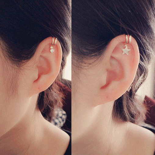 Korean Style Heart Star Pearl Ear Cuff Clip On Earrings For Women