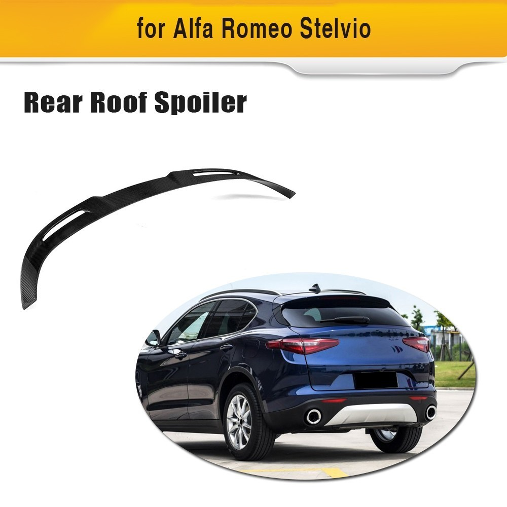 Carbon Fiber Rear Roof Window Lip Spoiler For Alfa Romeo Stelvio 2017 2018