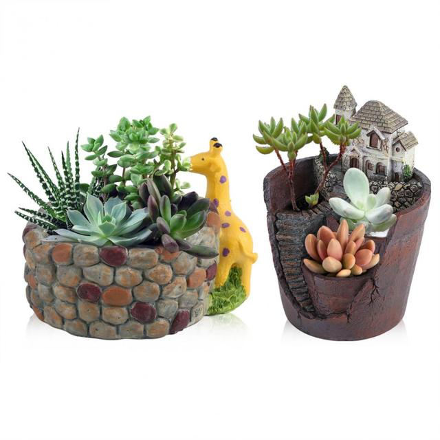 Creative Resin Succulent Plant Pot Container Herb Flower Basket Planter Garden Home Decor