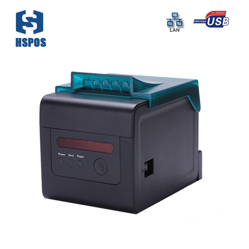 Pos termo printer 80mm with auto cutter alarm function for kitchen HS-H81UL USB and ethernet port china oem printer high quality
