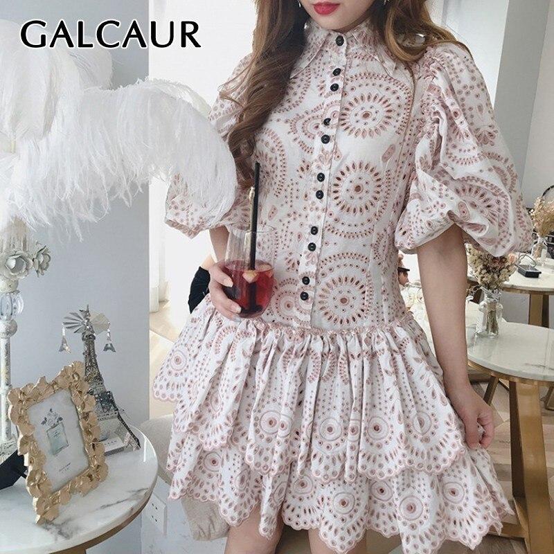 GALCAUR Hollow Out Women Dress Lapel Puff Sleeve Button Hit Color Slim Ruffles Mini Dresses Female