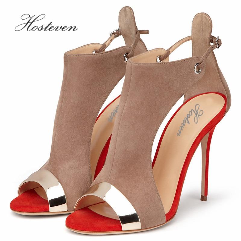 Hosteven Summer Women's Shoes Elegant Ladies Plush Patent Leather Office Pumps Casual Thick High Heel Sandals Shoes Size 34-46