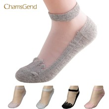 CHAMSGEND Coolbeener socks women meias Ultrathin Transparent calcetines Beautiful Crystal Lace Elastic Short Socks mar27(China)