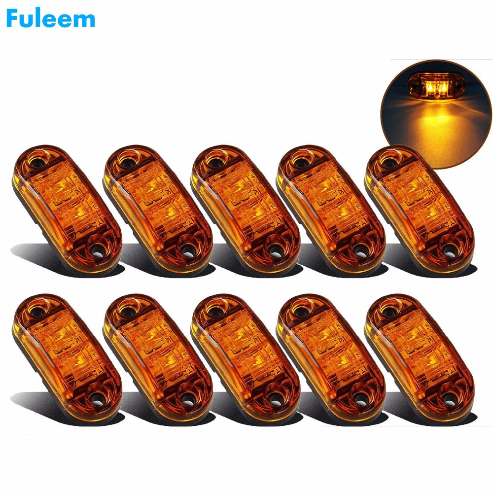 Fuleem 10PCS Amber LED 2.5INCH 2 Diode Light Oval Clearance Trailer Truck LED Side Marker Lamp 12V 24V Waterproof