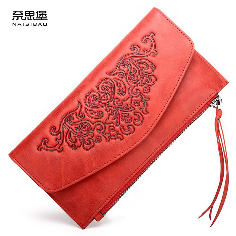 NAISIBAO New luxury women bags fashion Superior cowhide women wallets genuine leather clutch bag women leather Envelope bag