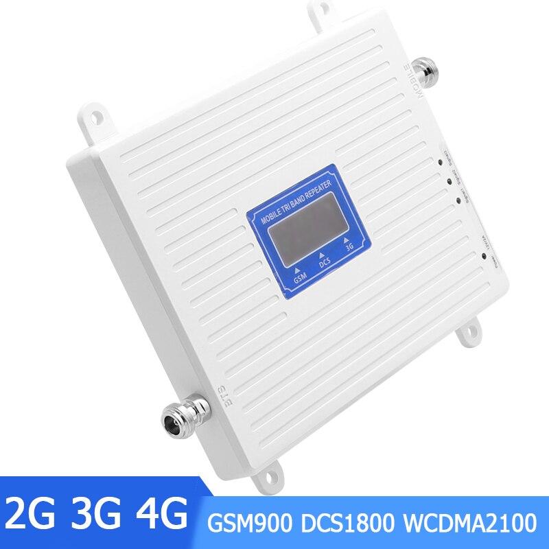 2g 3g 4g Tri Bande Amplificateur de Signal 900 1800 2100 GSM DCS WCDMA UMTS LTE Répéteur Cellulaire Amplificateur 70dB pour La Maison et Le Bureau/