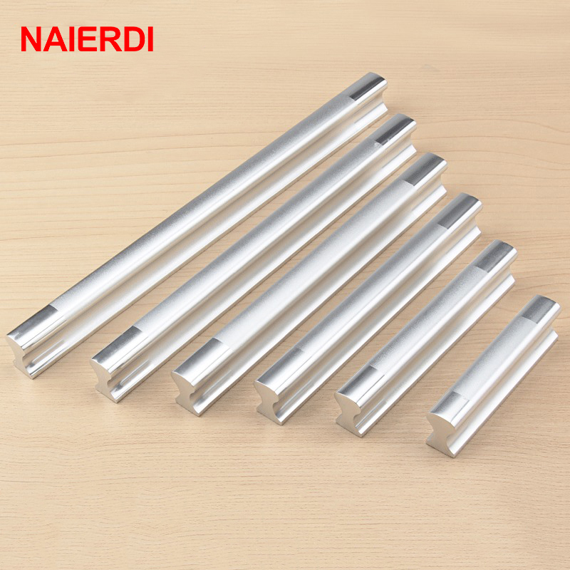 NAIERDI Aluminum Alloy Handles Kitchen Door Modern Wardrobe Handle Drawer Pulls Cupboard Cabinets Knobs Furniture Hardware chrome plated modern handle c c 192mm l 218mm h 23mm drawers cabinets