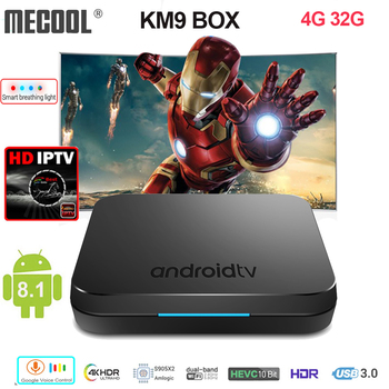 Mecool KM9 Smart TV Box S905X2 4 GB 32 GB Android 8.1 5G WIFI BT 4.1 4 K HD controllo vocale supporto TV Box Europa Spagna Italia IPTV