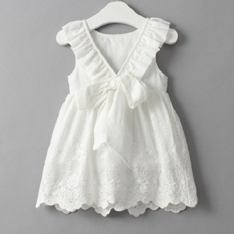 Lace Beach Girls Dress White Halter Hollow Party Backless Dresses For Girls Vintage Toddler Girls Clothes 2 3 4 5 6 7 8 9 years 1