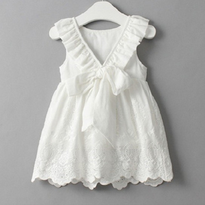 Lace Beach Girls Dress White Halter Hollow Party Backless Dresses For Girls Vintage Toddler Girls Clothes 2 3 4 5 6 7 8 9 years(China)
