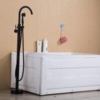 Позолоченные Черный Бронзовый напольный смеситель для ванны смеситель для душа Одной ручкой на одно отверстие Вертикальная ванна кран