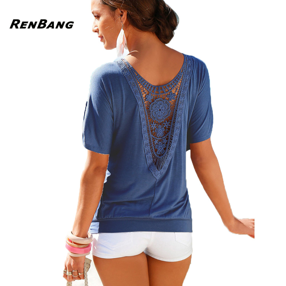 RENBANG Fashion T Shirt Women Plus Size 5XL Summer Casual O-Neck Top Tee Harajuku Black Vintage Female Clothing Lace T-Shirt