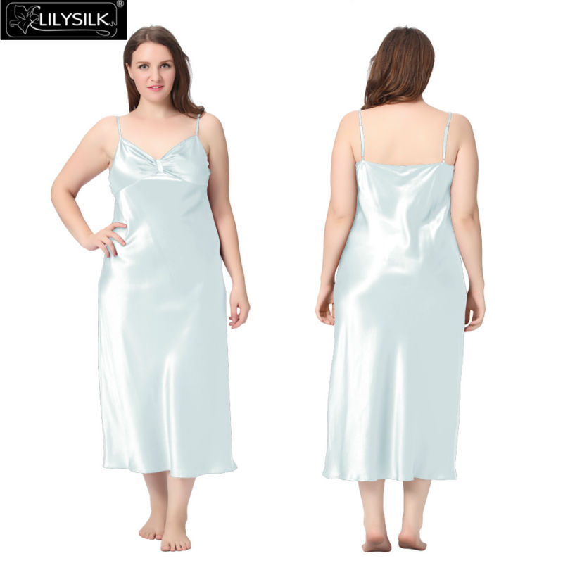 1000-light-sky-blue-22-momme-gathered-bowknot-neck-silk-nightgown-plus-size-01