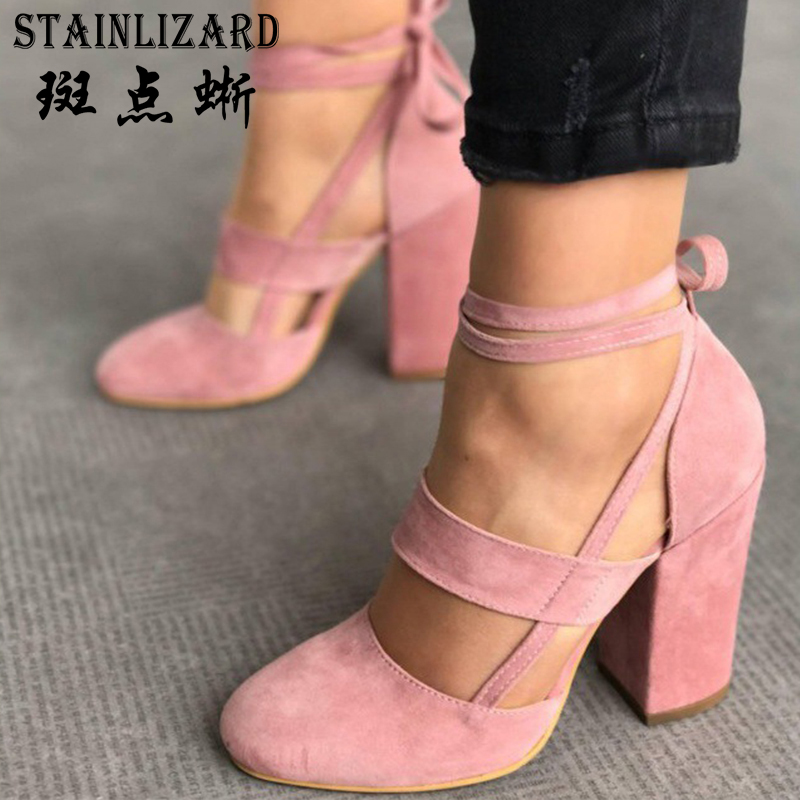 Plus Size 43 Fashion Single Women High Heels Shoes Comfortable Flock Ladies Square heel Footwear Sweet Wild Female Shoes HBT710 new 2017 spring summer women shoes pointed toe high quality brand fashion womens flats ladies plus size 41 sweet flock t179