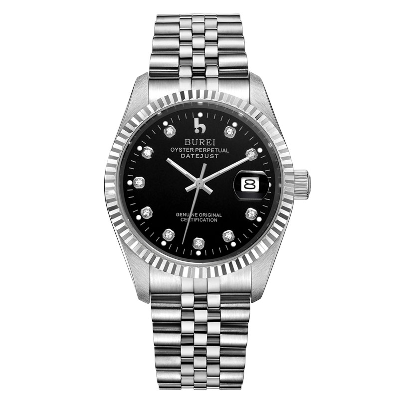 BUREI 5003 Switzerland oyster perpetual datejust MIYOTA Men's Stainless Steel Automatic Watch with Calendar and Black Face relojes full stainless steel men s sprot watch black and white face vx42 movement