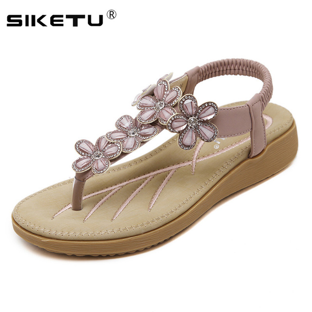 cc2bcc81c3b3c SIKETU Hot Sale Women Sandals Flowers Rhinestone Flip Flops Low Heels  Wedges Sandals Women Shoes Summer