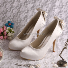 Wedopus Beige Wedding Bridesmaids Shoes Back Bowtie for Women Pumps Plus Size