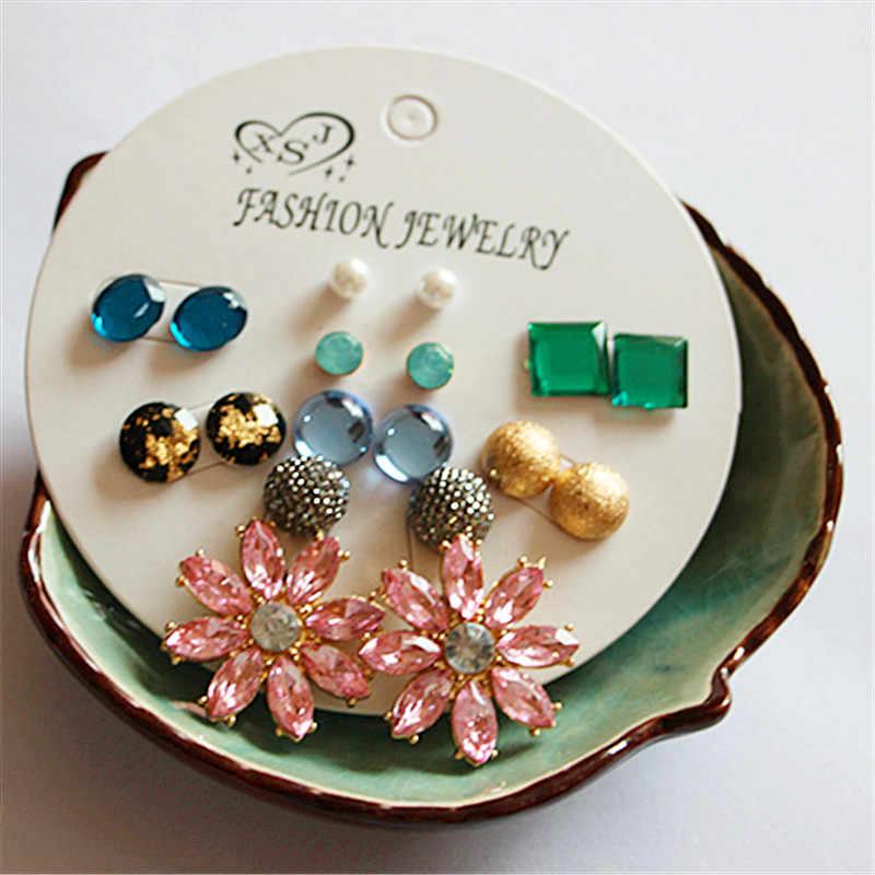 Nueva moda hermosa chica joyería al por mayor chica cumpleaños fiesta pendientes azul/rosa/Verde mezcla 9 par/set regalos boutique