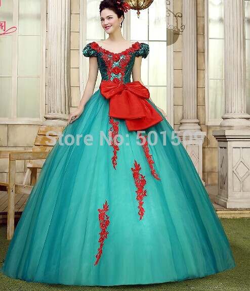full sequins green embroidery long ball gown medieval dress Renaissance gown Sissi princess Victorian Belle Ball