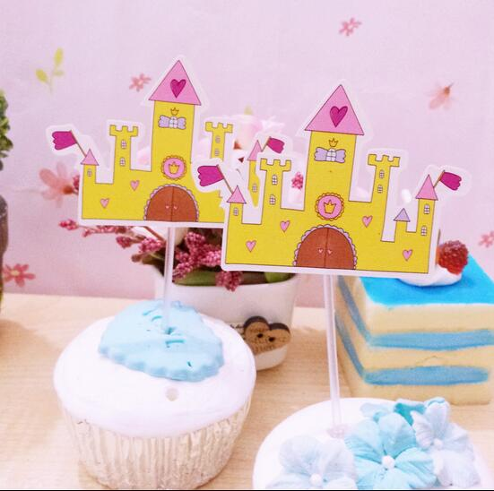 new sale 20 pcs yellow love castle cupcake topper cake accessories kids birthday party supplies decoration