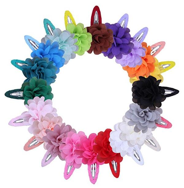Trail Order 10pcs/lot 22 Colors Fashion Baby Girl Mini Chiffon Flowers Hair Clips Sweet Girls Hairpins For Kids Hair Accessories 10pcs lot new high quality thick little girls hair clips kids colorful solid barrettes children safety hairpins hair accessories