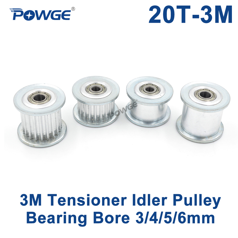POWGE 20 Dentes 3 M síncrona Polia Tensor Tensor Roda Diâmetro 3/4/5/6mm com Regulação de Guia do rolamento polia HTD3M 20 dentes 20 T