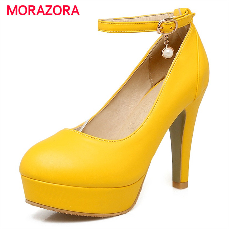 MORAZORA Women shoes high heel platform buckle shallow wedding party shoes big size 314-48 pumps solid contracted morazora pu patent leather women shoes pumps fashion contracted high heels shoes shallow big size 34 42 platform shoes party
