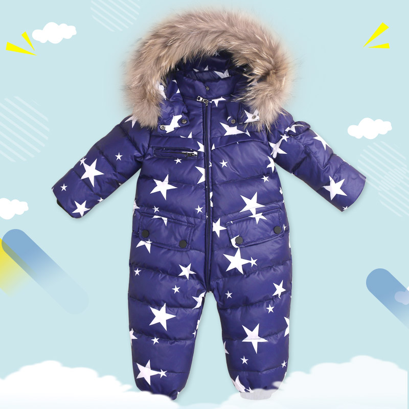 Top quality Baby Clothes 2017 New Winter Baby Down Jumpsuits Real Raccoon Fur Kids Down Jacket Thermal Conjoined Apperal 2017 winter new clothes to overcome the coat of women in the long reed rabbit hair fur fur coat fox raccoon fur collar