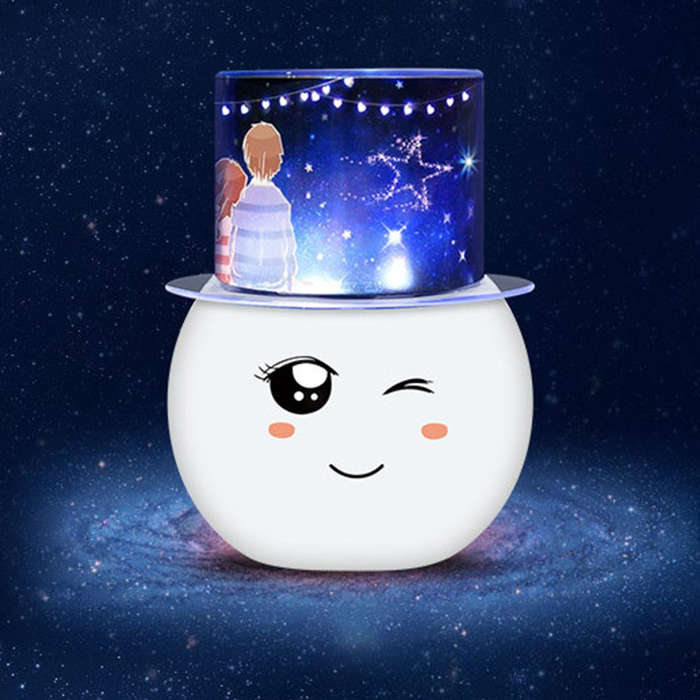 ICOCO Colorful LED Projector Lamp Christmas Gift Flashing Starry Star Moon Sky Romantic Room Cute Night Light For Kids
