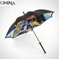 New Creative One Piece Man Long Handle Umbrella Automatic Warrior Umbrella Samurai Sword Umbrella Sunscreen Cartoon